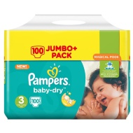 Pampers Baby Dry Nappies 100 Jumbo Pack Size 3