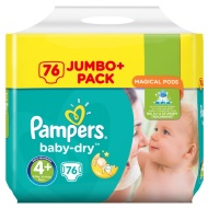 Pampers Baby Dry Nappies 76 Jumbo Pack Size 4+