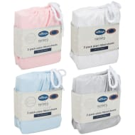 Silentnight Moses Basket Plain Fitted Sheets 2pk