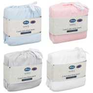 Silentnight Cot Bed Plain Fitted Sheets 2pk