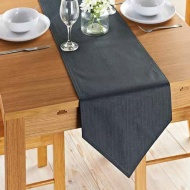 Karina Bailey Linen Look Runner 33 x 235cm - Charcoal
