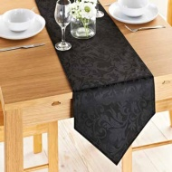 Jacquard Leaf Runner 33 x 183cm - Black
