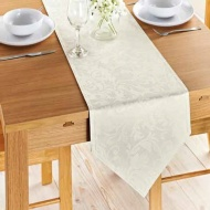 Jacquard Leaf Runner 33 x 183cm - Cream