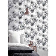 Arthouse Diamond Bloom Floral Wallpaper - Mono