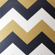 Arthouse Glitterati Chevron Wallpaper - Black/Gold