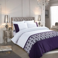 Flock Damask King Size Duvet Set