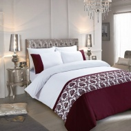 Flock Damask Double Duvet Set