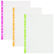 A4 Coloured Edge Punched Pockets 50pk