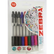 Zebra Retractable Ball Pen Assorted 10pk