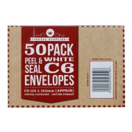 C6 White Envelopes 50pk