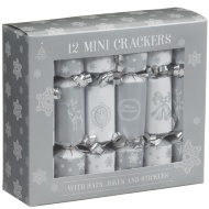 Mini Christmas Crackers 12pk - Silver
