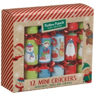 Mini Christmas Crackers 12pk - Novelty