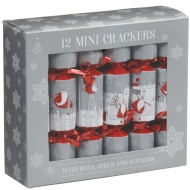 Mini Christmas Crackers 12pk - Silver & Red