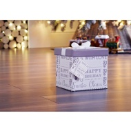 Medium Christmas Gift Box with Bow & Tag - Silver Text