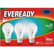 Eveready 60W E27 Eco Halogen Bulb 3pk