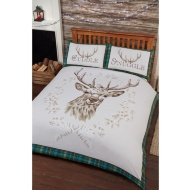 Stag Panel Tartan Border Duvet Set - King