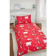Multi Winter Animals Brushed Cotton Duvet Set - Single