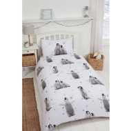 Dancing Penguin Brushed Cotton Duvet Set - Single