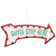Santa Stop Here Hollywood Lights - Red