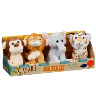 Plush Safari Animals 4pk