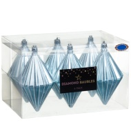 Large Diamond Baubles 6pk - Ice Blue