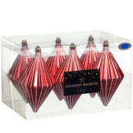 Large Diamond Baubles 6pk - Red