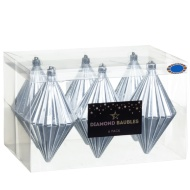 Large Diamond Baubles 6pk - Silver