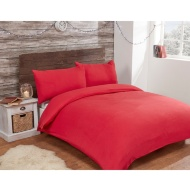 Brushed Cotton Plain Duvet Set - Double