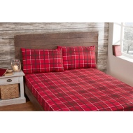 Check Brushed Cotton Sheet Set - Double