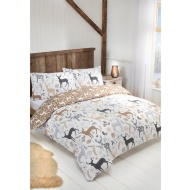Textured Stag Brushed Cotton Duvet Set - Double
