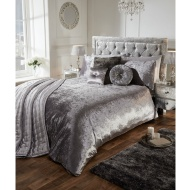 Versailles Full Velvet Face Silver Duvet Set - King