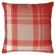 Tara Classic Woven Tartan Cushion - Red