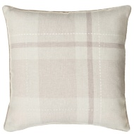 Tara Classic Woven Tartan Cushion - Natural