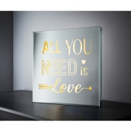 Square Mirror LED Slogan - All You Need is Love