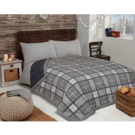 Check Brushed Reversible Bedspread - Monochrome