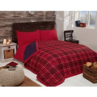 Check Brushed Reversible Bedspread - Red