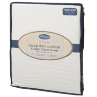 Silentnight Premium Collection Egyptian Cotton King Size Fitted Sheet - Cream