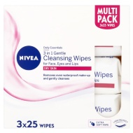 Nivea Daily Essentials 3-in-1 Gentle Cleansing Wipes 3 x 25pk