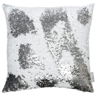 Reversible Sequin Cushion 48 x 48cm - Silver & White