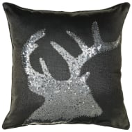 Sequin Stag Cushion - Black & Silver