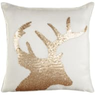 Sequin Stag Cushion - Cream & Gold