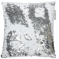 Reversible Sequin Cushion 30 x 30cm - Silver & White