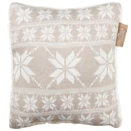 Knitted Nordic Sherpa Cushion - Taupe