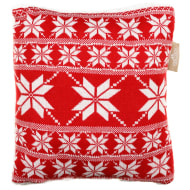 Knitted Nordic Sherpa Cushion - Red