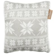 Knitted Nordic Sherpa Cushion - Grey