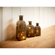 Crackle Glass Bottle Lights 3pk - Smoked Glass