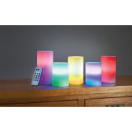 Flameless Remote Control LED Coloured Candles 5pk