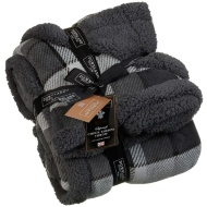 Check Sherpa Throw - Grey