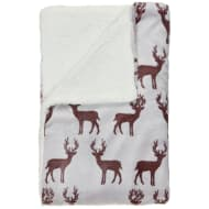 Stag Sherpa Throw - Deep Red