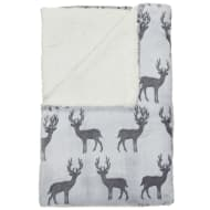 Stag Sherpa Throw - Grey